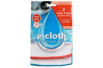 E-Cloth 2pc Wash & Wipe Kitchen Cleaning Cloths Duster Towels Wipe Orange & Blue