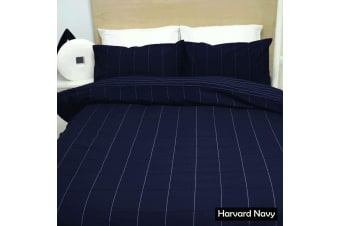 Harvard Navy Quilt Cover Set - Double