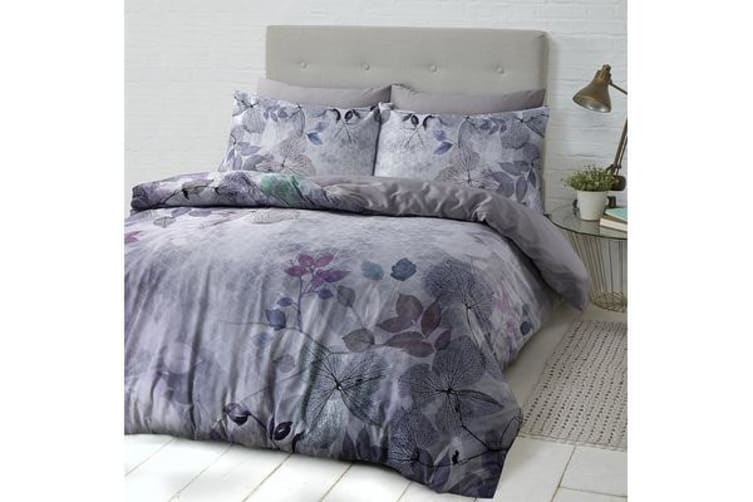 Style & Co 100 % Cotton Reversible Quilt Cover Set Super King Soft Leaves