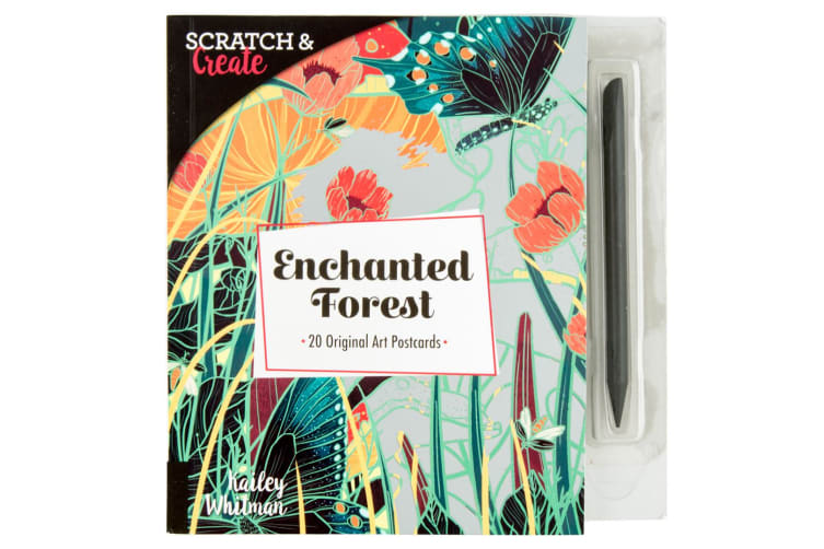 20 Postcard Book Kailey Whitman Scratch & Create Enchanted Forest Art/Craft
