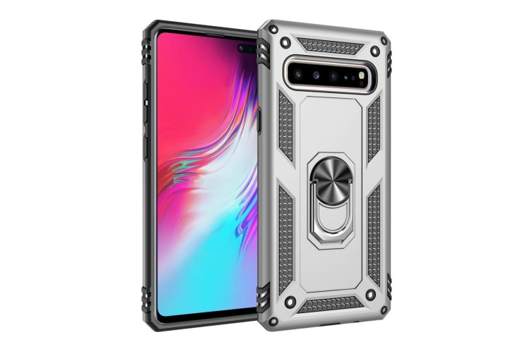 For Samsung Galaxy S10 5G Case  Armour Strong Cover 360 Rotation Holder  Silver