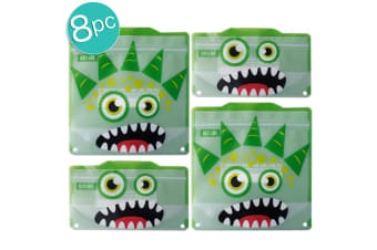 2x 4pc Russbe Kids School Reusable BPA Free Snacks & Sandwich Bags Green Monster
