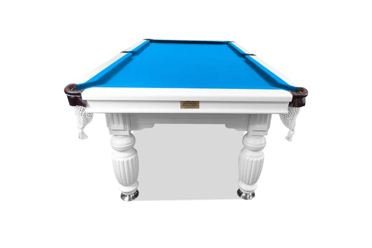 9FT Luxury Slate Pool Table Solid Timber Billiard Table Professional Snooker Game Table with Accessories Pack, White Frame / Blue Felt