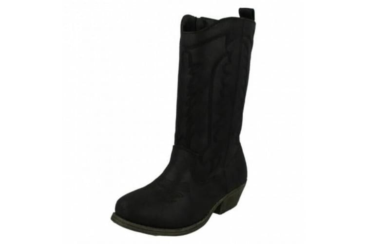 Cutie Childrens Girls Mid-Calf Cowboy Style Boots (Black Synthetic Suede) (UK Size 11 Child)