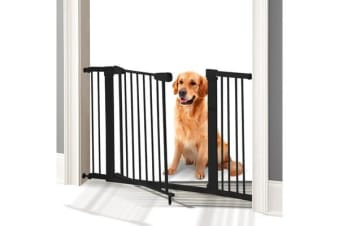 76cm Tall Baby/Pet Safety Gate Door Barrier Adjustable Width - Black