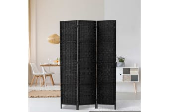 Artiss 3 Panel Room Divider Screen Privacy Rattan Dividers Stand Fold Wove Black