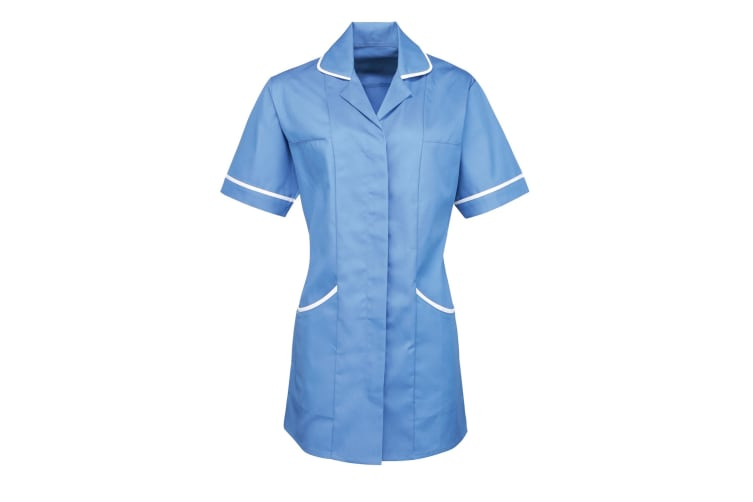 Premier Ladies/Womens Vitality Medical/Healthcare Work Tunic (Pack of 2) (Mid Blue/ White) (14)