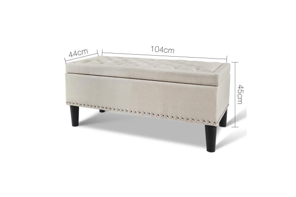Linen Fabric Storage Ottoman with Studs (Taupe/Black)