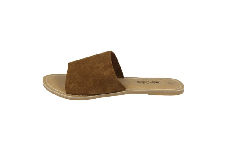 Leather Collection Womens/Ladies Flat Mule Sandals (Brown Suede) (UK Size 7)