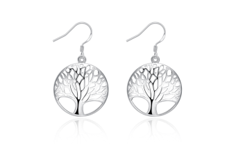 Sterling Silver Plated Tree of Life Drop Dangle Earrings P00011