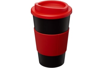 Americano 350ml Insulated Tumbler With Grip (Solid Black/Red) (One Size)