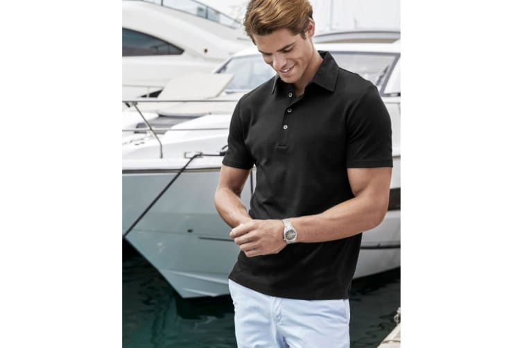 Tee Jays Mens Pima Short Sleeve Cotton Polo Shirt (Black) (S)