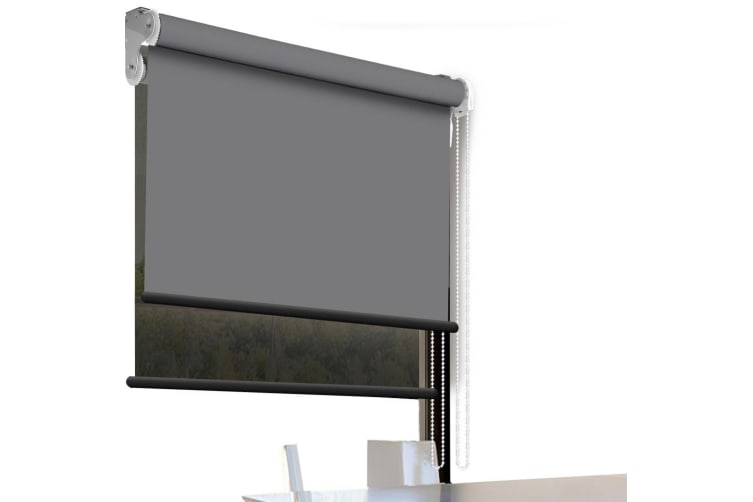 Modern Day/Night Double Roller Blind Commercial Quality 60-240cm(W) 210cm(D) NEW  -  120(W)x210(D)cm--Charcoal (black)