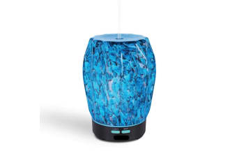 Essential Oil Aroma Diffuser Ocean Blue Glass Crafted Ultrasonic Mist Humidifier