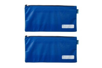 2x Celco 37cm School/Work Large Storage Zipper Pouch Pencil/Stationery Case Blue