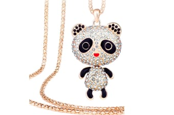 Panda Long Necklace Embellished with Swarovski crystals