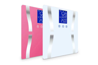 SOGA 2 x Digital Body Fat Scale Bathroom Scales Weight Gym Glass Water LCD Pink/White