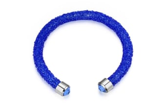 Ignite Crystals Bangle w/Swarovski Crystals-White Gold/Blue