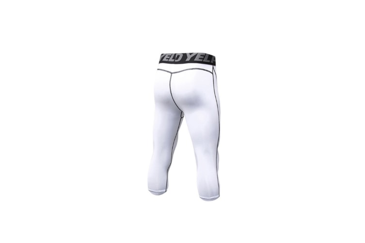Men'S Compression Capri Shorts Baselayer Cool Dry Sports Tights - White White L
