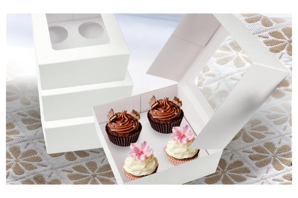 5 Cupcake Boxes Window Face With 4 Holes