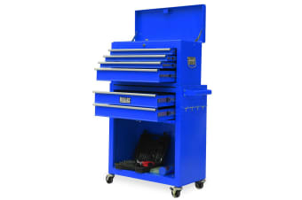 BULLET Tool Kit Chest Cabinet Box Set Storage Wheels Metal Rolling Drawers Steel Blue