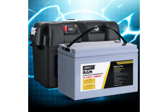 Giantz 120Ah Deep Cycle Battery & Battery Box 12V AGM Marine Sealed Power