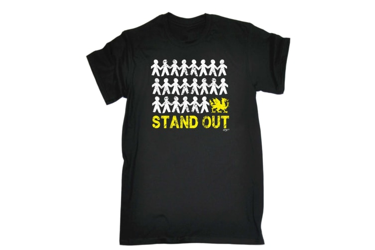 123T Funny Tee - Stand Out Welsh - (Small Black Mens T Shirt)