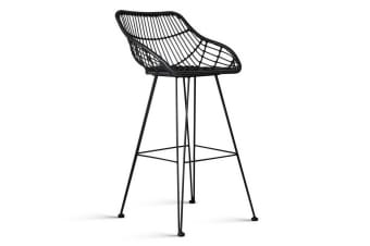 Set of 2 Rattan Bar Stools (Black)