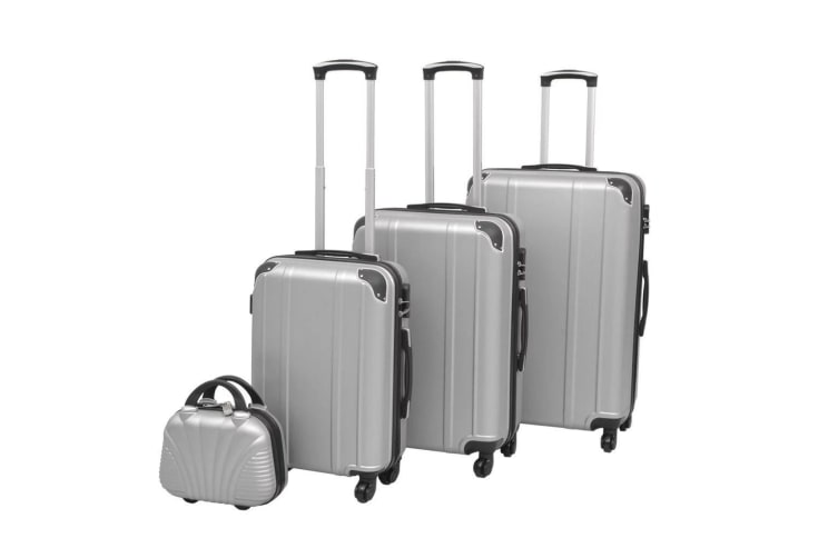 vidaXL Four Piece Hardcase Trolley Set Silver
