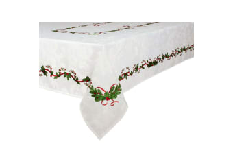Ornate Christmas Xmas Festival Cotton Tablecloth Oblong 10 Seater 150 x 260 cm
