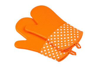 Extra Long Quilted Cotton Lining Heat Resistant Silicone Oven Mitts Orange