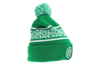 Celtic FC Official Snowflake Cuff Knitted Hat (Green)