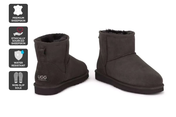 Outback Ugg Boots Mini Classic - Premium Sheepskin (Chocolate, Size 9M / 10W US)