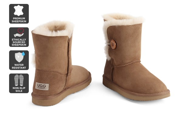 Outback Ugg Boots Short Button - Premium Sheepskin (Chestnut, 9M / 10W US)