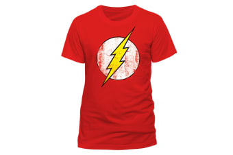 The Flash Unisex Adults Distressed Logo T-Shirt (Red)