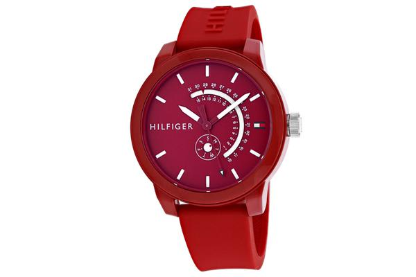 Tommy Hilfiger Men's Classic Watch (Red Dial, Silicone Strap)