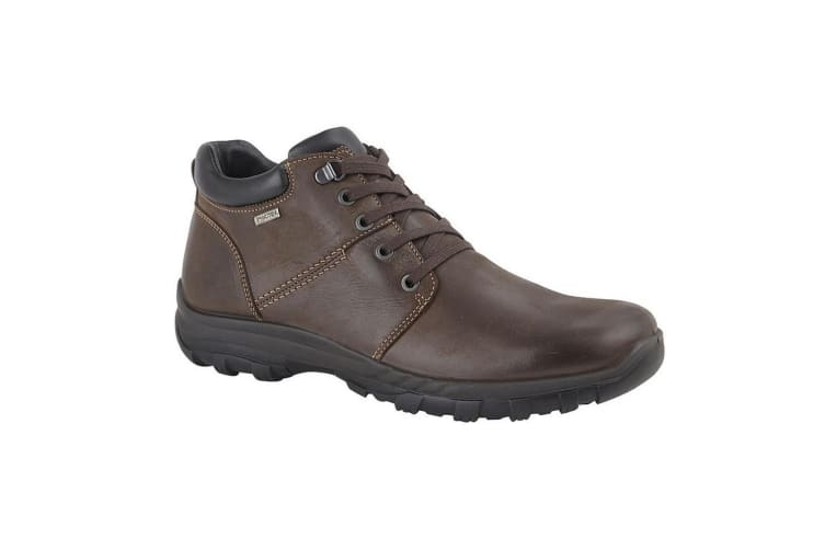 IMAC Mens Leather 4 Eye D Ring Laced Ankle Boot (Dark Brown) (9 UK)