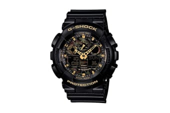 Casio G-Shock Analog Digital Watch with Shock/Water Resistance, Anti-Magnetism & Resin Band - Black/Gold (GA100CF-1A9)