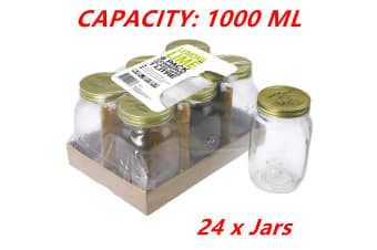 24 x Large Preserving Jar 1L Conserve Glass Jars Chutney Storage Jam Sauce FDFDD