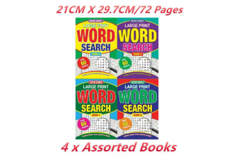 4 x Word Search Puzzle Brain Game Book Number A4 Kids Problem Solving Travel