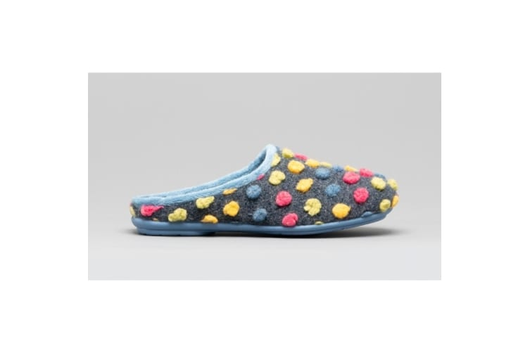 Sleepers Womens/Ladies Amy Spotted Knit Mule Slippers (Blue/Multi) (8 UK)