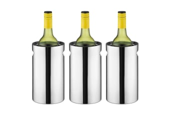 3PK Avanti Twin Stainless Steel Wine Champagne Cooler Chiller Indent Handles