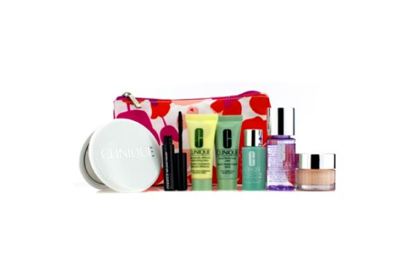 Clinique Travel Set: Liquid Soap + MakeUp Remover + Moisture Lotion #2 + DDML + Moisture Surge + Mascara + Mi (7pcs+1bag)