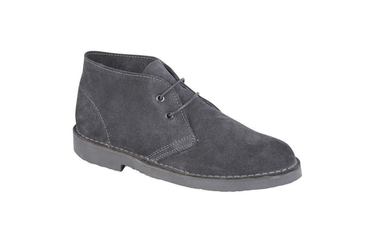 Roamers Adults Unisex Real Suede Unlined Desert Boots (Dark Grey) (14 UK)