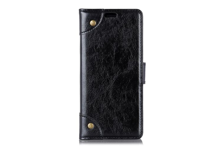 For iPhone XS MAX Case Copper Buckle Flip Leather Wallet Cover Slots Stand Black