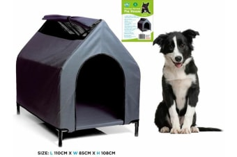 XL Waterproof Pet House Portable FleaResistant Grey Dog Bed Puppy Kennel Elevated W