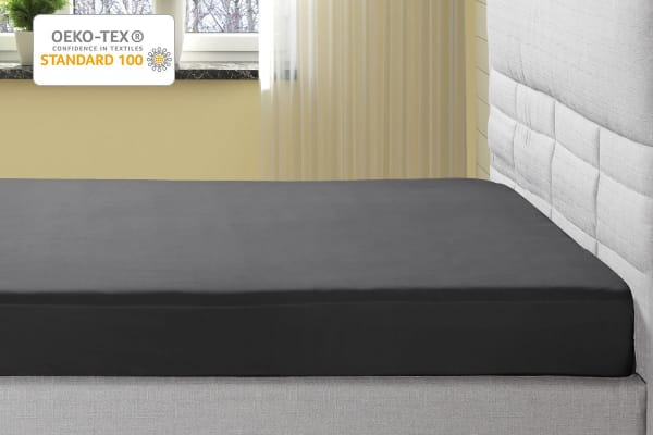 Ovela 1000TC Cotton Rich Luxury Fitted Sheet (Single, Charcoal)