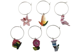 Australiana Flora Wine Charm Set of 6