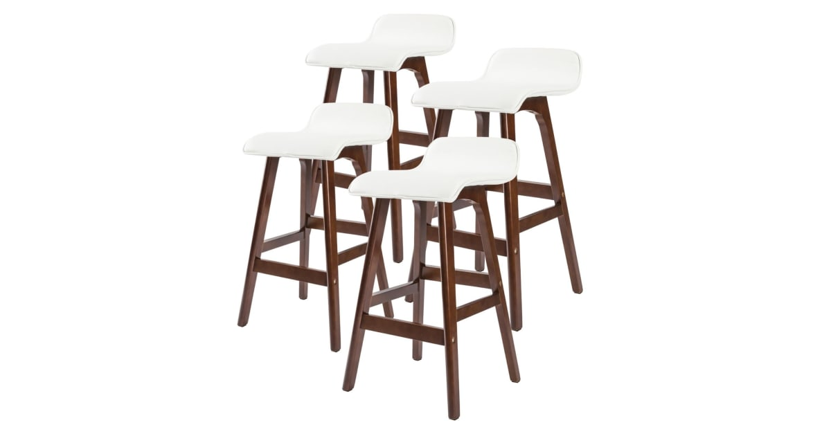 4x 65cm Oak Wood Bar Stool Leather Sophia White Brown