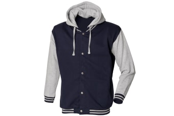 Skinni Fit Mens Heavy Weight Baseball Jacket With Detachable Hood (Navy/Heather Grey) (M)